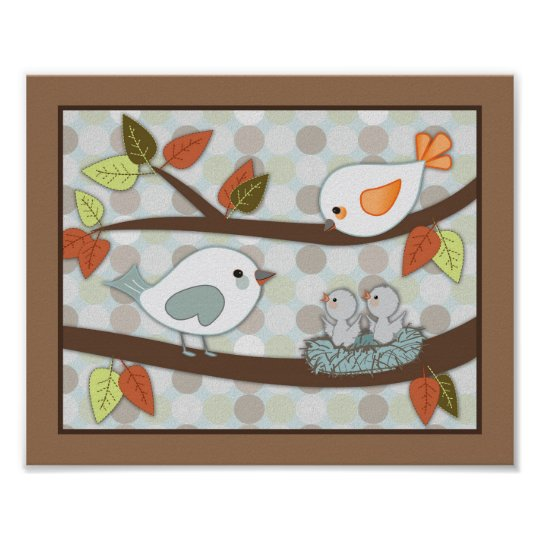 Forest Friends Nursery Art - Birds Poster