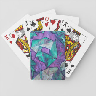 Forest Ghost - abstract art collage green purple Poker Deck
