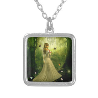 Forest Girl Square Pendant Necklace