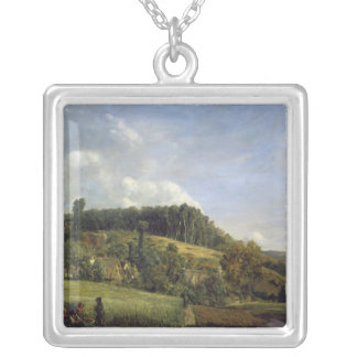 Forest Glade near a Village, 1833 Silver Plated Necklace