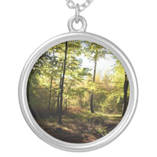 Forest glade round pendant necklace