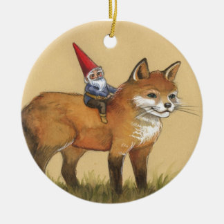 Forest Gnome and Red Fox Round Ceramic Decoration