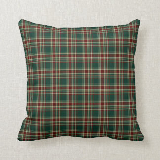 Forest Green and Maroon Christmas Plaid Pattern Cushion