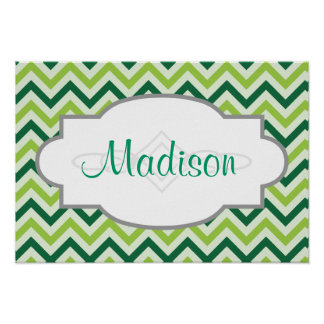 Forest Green and Sage Green Chevron Pattern Posters