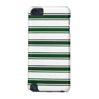 Forest Green and White Stripes; Striped iPod Touch (5th Generation) Case