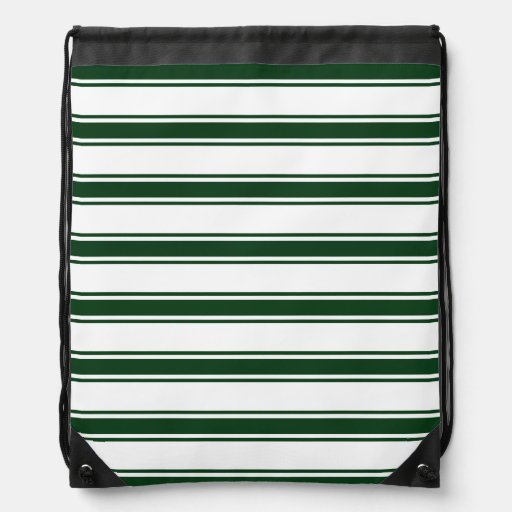 Forest Green and White Stripes; Striped Drawstring Bags