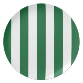 Forest Green and White XL Stripes Pattern Plate