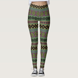 Forest Green Boho Aztec Tribal Pattern Leggings