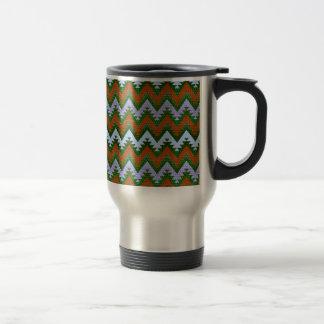 Forest Green Burnt Orange Aztec Chevron Stripes Travel Mug