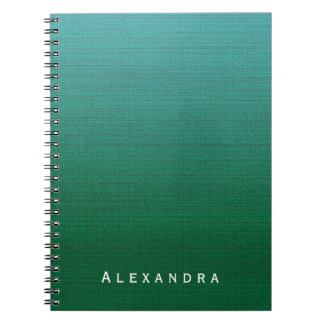 Forest Green Cyan Gradient Med Texture Custom Name Spiral Note Book