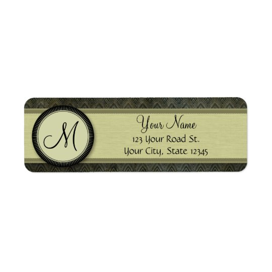 Forest Green Feather Pattern with Monogram Return Address Label