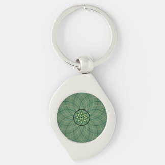 Forest Green Geometric Flower Silver-Colored Swirl Key Ring