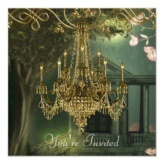 Forest Green Gold Chandelier Party Invitations