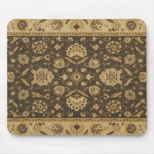 Forest green gold floral tapestry mouse mat