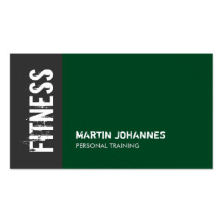 Forest Green Gray Personal Trainer Business Card