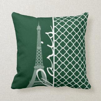 Forest Green Moroccan Quatrefoil; Paris Cushion