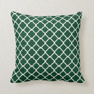 Forest Green Moroccan Quatrefoil Throw Pillow