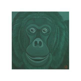 Forest Green orangutan Wood Wall Panel