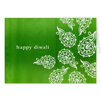 Forest Green Paisleys Diwali Card