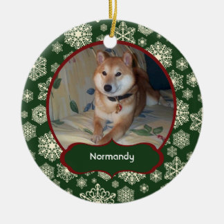 Forest Green Snowflakes Personalized Photo Round Christmas Ornament