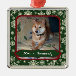 Forest Green Snowflakes Personalized Photo Square Christmas Ornament
