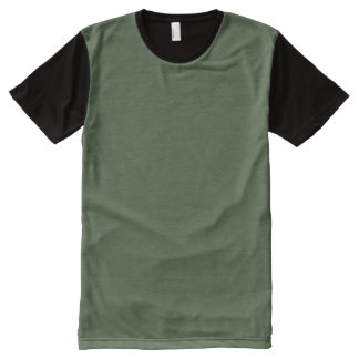 Forest Green Solid Color All-Over Print T-Shirt
