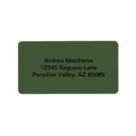 Forest Green Solid Colour Address Label