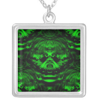 Forest Green Square Pendant Necklace