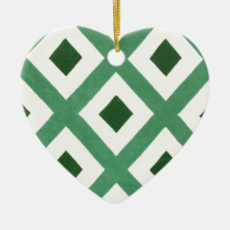 Forest Green Triangle Pattern Christmas Ornament