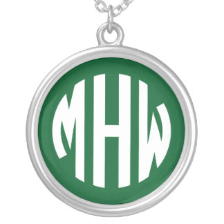 Forest Green White 3 Initials in a Circle Monogram Jewelry