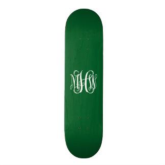 Forest Green White 3 Initials Vine Script Monogram Skateboard Decks