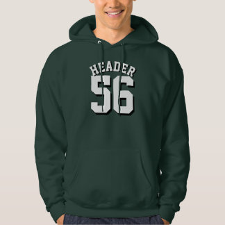 Forest Green & White Adults   Sports Jersey Design Hooded Sweatshirt
