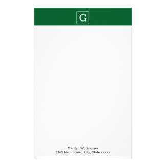 Forest Green White Framed Initial Monogram Customised Stationery