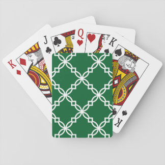 Forest Green White Large Fancy Quatrefoil Pattern Playing Cards