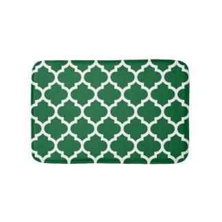 Forest Green White Moroccan Quatrefoil Pattern #5 Bath Mat