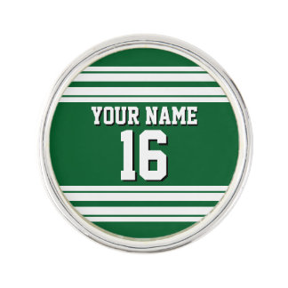 Forest Green White Team Jersey Custom Number Name Lapel Pin