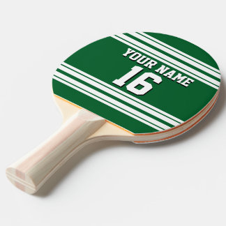 Forest Green White Team Jersey Custom Number Name Ping Pong Paddle