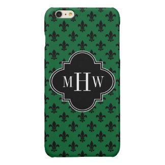Forest Grn Blk Fleur de Lis Black 3 Init Monogram iPhone 6 Plus Case