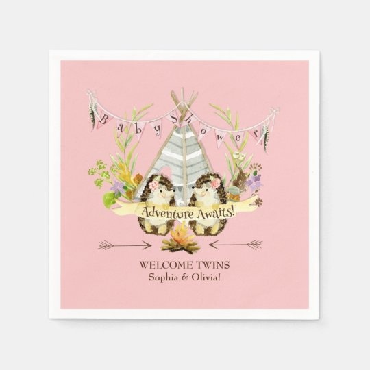 Forest Hedgehogs Twin Girls Boho Baby Shower Pink