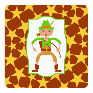 Forest hunter with bow and arrow birthday party 13 cm x 13 cm square invitation card