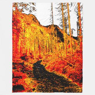 Forest in fire fleece blanket