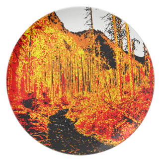 Forest in fire plates