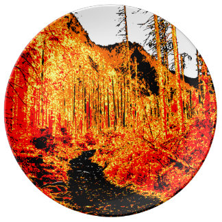 Forest in fire porcelain plate