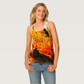 Forest in fire red tank top