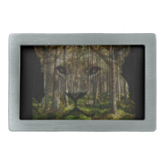 Forest inside a tiger rectangular belt buckles