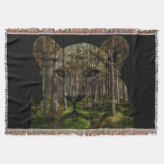 Forest inside a tiger throw blanket