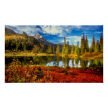 Forest Lake Mountains Autumn Colours Watercolor Poster
