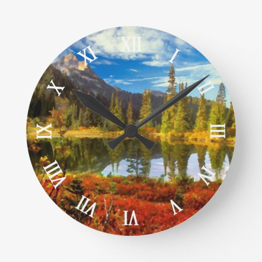 Forest Lake Mountains Autumn Colours Watercolor Round Clock