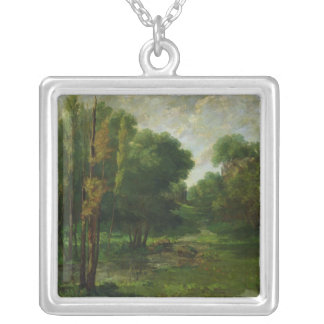 Forest Landscape, 1864 Silver Plated Necklace