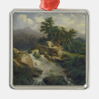 Forest Landscape with Waterfall Christmas Ornament